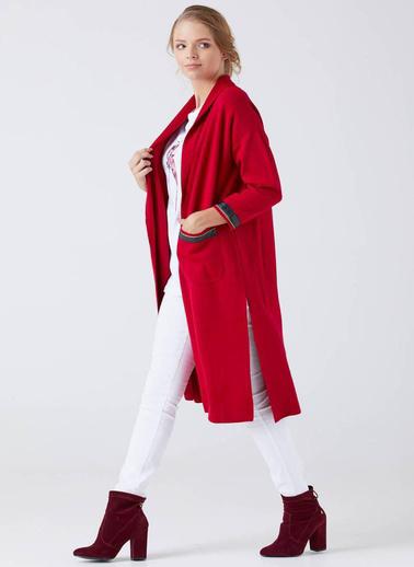 Sementa Kadın Cep Detaylı Yırtmaçlı Uzun Triko Hırka  Kırmızı